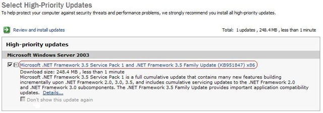 Recent updates for Microsoft .NET Framework 3.5 SP1 - Notes from a
